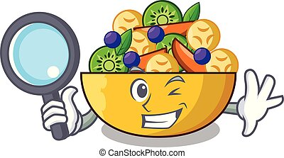 Detective cartoon bowl healthy fresh fruit salad
