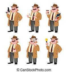 Detective cartoon character, set of six poses