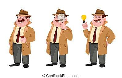 Detective cartoon character, set of three poses
