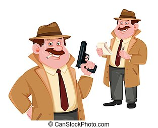Detective cartoon character, set of two poses