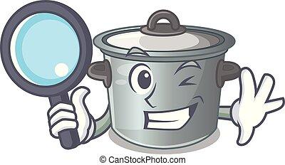 Detective cartoon cookware stock pot in kitchen vector...