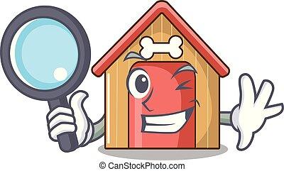 Detective cartoon dog house and bone isolated