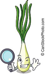 Detective cartoon fresh green onions on cutting board vector...