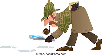 Detective - Cartoon illustration of a detective, following ...