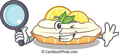Detective cartoon lemon cake with lemon slice