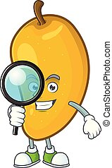 Detective cartoon of mango character on a white background.