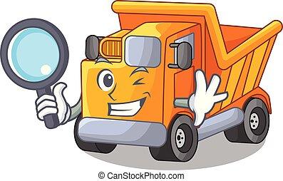 Detective cartoon truck transportation on the road