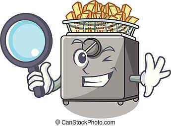 Detective character deep fryer on restaurant kitchen vector...