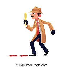 Detective character following, tiptoeing after somebody with magnifying glass