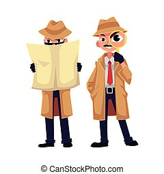 Detective character looking through magnifying glass, spying from behind newspaper