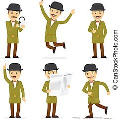 Detective character in different poses with newspaper and magnifying glass. Vector illustration.