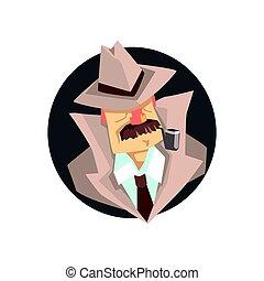 Detective character wearing classic fedora hat avatar