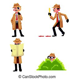 Detective character with magnifying glass, disguising,...