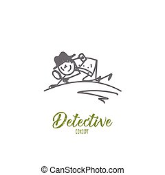 Detective concept. Hand drawn isolated vector