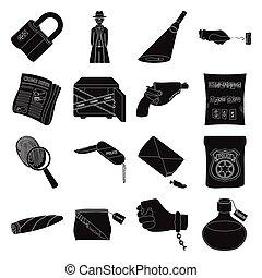detective, conjunto, aumentar, estilo, policía, iconos, crimen, otro, huella digital, negro, pistola, attributes., acción, insignia, símbolo, web., colección, vidrio, ilustración, pistolera, noticias, criminal, vector, detective