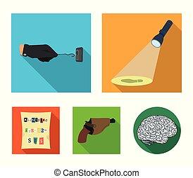 detective, conjunto, detective's, criminal's, huella, llave, kidnapper's, linterna, estilo, claim., iconos, crimen, maestro, pistola, acción, plano, símbolo, web., ilustración, mano, ilumina, colección, pistolera, vector