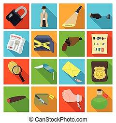 detective, conjunto, insignia, aumentar, estilo, policía, iconos, crimen, otro, huella digital, pistola, attributes., acción, plano, símbolo, web., colección, vidrio, ilustración, pistolera, noticias, criminal, vector, detective