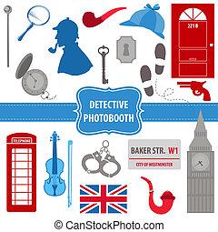 detective, conjunto, tubos, siluetas, -, máscara, vector, sherlock, photobooth, accesorios, sombrero del partido