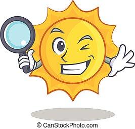 Detective cute sun character cartoon