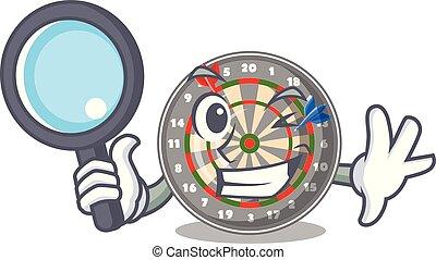 Detective dartboard in the shape of mascot