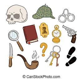 Detective - Detective hand drawn set. Detective hand drawn...
