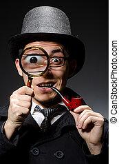 detective, divertido, sombrero, tubo