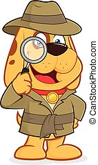 Clipart picture of a detective dog cartoon character