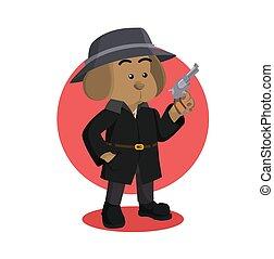 detective dog holding gun vector illustration