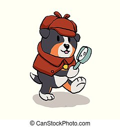 Detective dog looking through magnifying glass