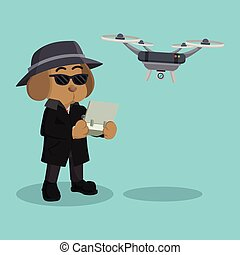 detective dog using drone