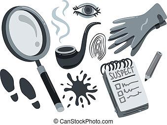 detective, doodle, farceren