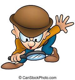 Detective - colored cartoon illustration