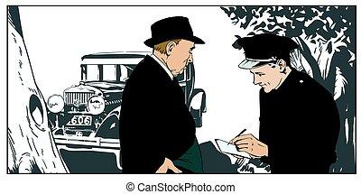 detective, e, poliziotto, appresso, un, anticaglia, automobile., casato, illustration.