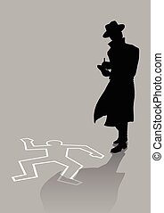 Detective - Silhouette illustration of a detective on crime...
