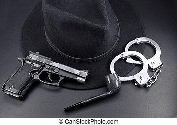 detective, equipo, esposas, semiautomático, tubo, pistola,...