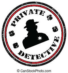 detective, estampilla, privado