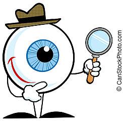 Detective Eyeball - Smiling Detective Eyeball Holding A...