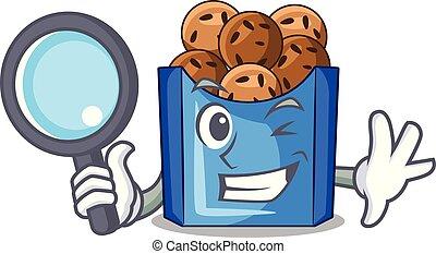 Detective falafel in fried on teflon cartoon vector ...