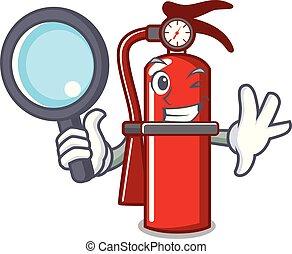 Detective fire extinguisher character cartoon
