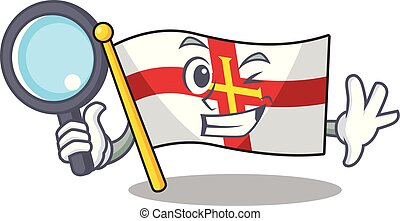 Detective flag guernsey with the cartoon shape vector illustration