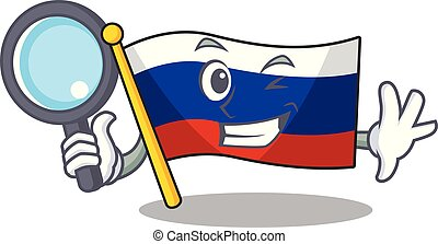 Detective flag russian stored in cartoon cupboard
