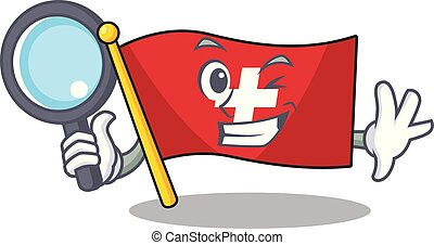 Detective flag switzerland isolated in the character