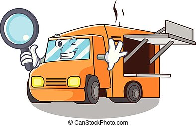 Detective Food Truck with Isolated on mascot