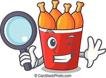 Detective fried chicken in red bucket cartoon