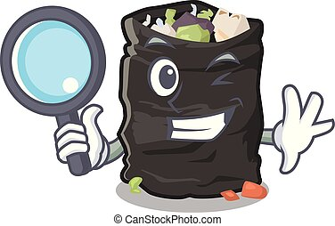 Detective garbage bag in the cartoon shape vector illustration
