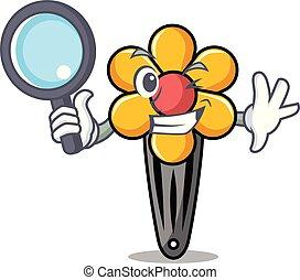 Detective hair clip character cartoon