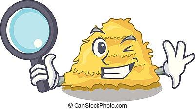 Detective hay bale character cartoon vector illustration