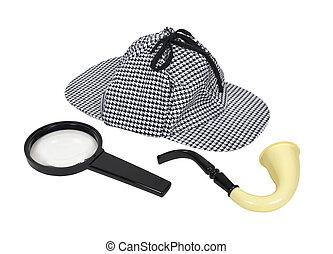 detective, herramientas, retro