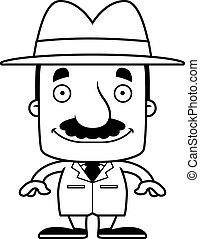 detective, het glimlachen, spotprent, man