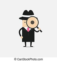 Detective holding a magnifying glass.
